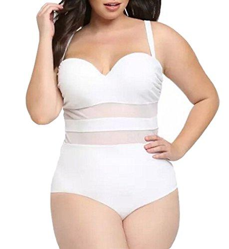 (Eternatastic Women's Summer One-piece Monokini Swimsuit Swimwear Plus Size White XXXL)