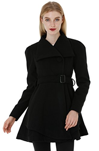 Wantdo Women's Wool Wrap Swing Coat with Belt