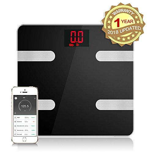 Fat Scale Smart Bluetooth Digital Weight Scale Body Composition Monitor Analyzer Works with Smart Phone Android iOS Free App Including Bmi, Body Fat, Muscle Mass, Water Weight, and Bone Mass (Healthy Body Fat Analyzer)