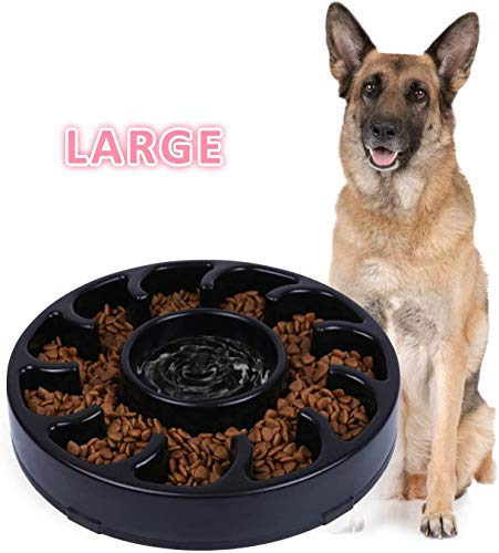 JASGOOD Slow Dog Bowl for Large Dogs,Fun Feeder Dog Bowl,Anti-Gulping Dog Slow Feeder Stop Bloat,Slow Eating Big Pet Bowl (A-Black)