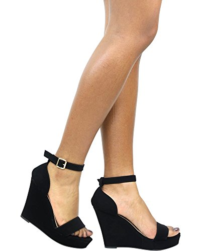 - Top Moda Women's Beryl-1 Black Round/Open Toe One Strap Heel Sandal Pumps with Ankle Braclet 8 D(M) US