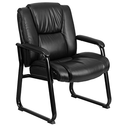 - Flash Furniture HERCULES Series Big & Tall 500 lb. Rated Black Leather Executive Side Reception Chair with Sled Base
