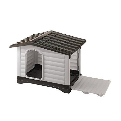 Ferplast Caseta para perros de exterior DOGVILLA 70, Pared lateral abatible, Sistema de drenaje de líquidos, Rejilla de ventilación, Puerta con perfil de aluminio, 73 x 59 x h 53 cm