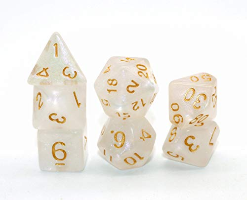 Polyhedral DND Dice Set Pearl Dice for Dungeons and Dragons, Pathfinder, D&D, RPG, MTG,7-Die Set Role Playing Games Dice