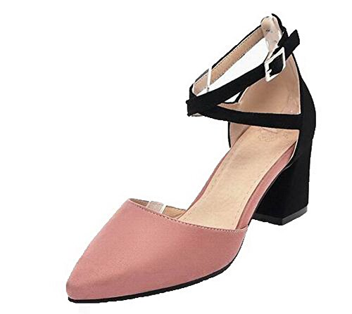 VogueZone009 Women Frosted Closed-Toe Kitten-Heels Assorted Color Sandals Pink