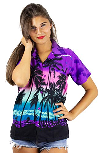 - Funky Hawaiian Shirt for Women, Beach, Purple, XL