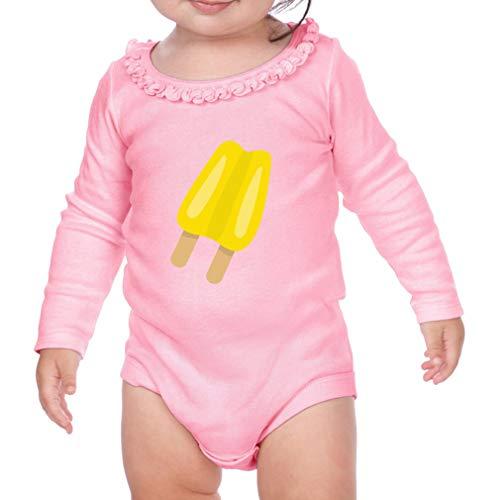 Yellow Ice Cream Long Sleeve Scoop Neck Girl Sunflower Cotton Baby Ruffle Bodysuit - Soft Pink, 12 ()