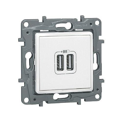 Legrand - LEG96625 - Prise Double Chargeur USB Niloé Enjoliveur Eclat