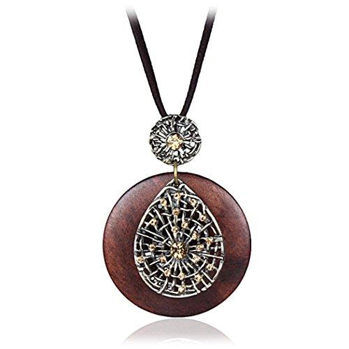 Coostuff Hotsale Vintage Handmade Wood Pendant Long necklace for women Jewelry (B) - Handmade Wood Jewelry