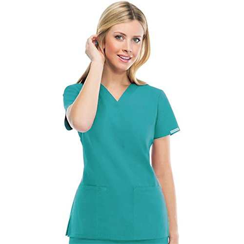 Bordova Women and Man Scrub Set, Medical Uniform Sets Top and Pants by 10 Pocket Unisex Scrub Sets (Teal Green, Large (Chest 45