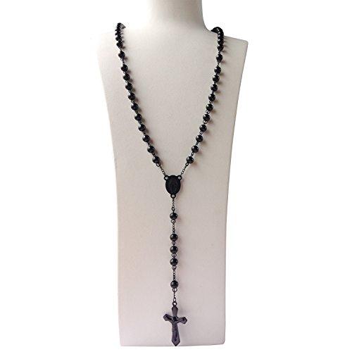 Vintage Rosary Bead (J.Shine Men Catholic Rosary Necklace Black 8mm Bead & Crucifix Pendant & Vintage Chain 28