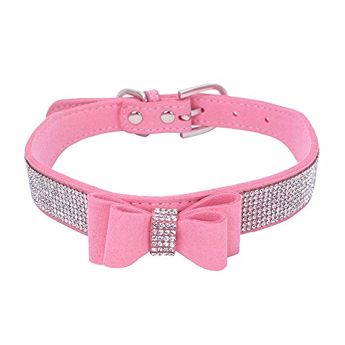 (Hpapadks Dog Collar Dog with Dog Chain,Exquisite Adjustable Butterfly Rhinestone Dog Puppy Pet Collars Dog Boutique)