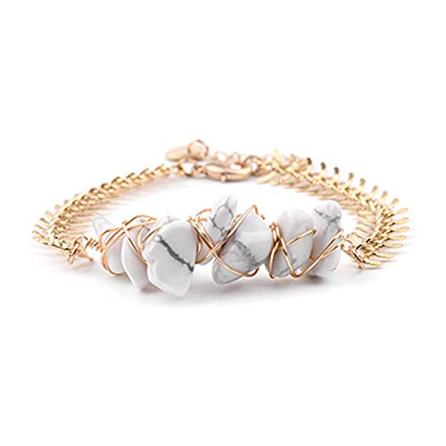 (New Wrapped Natural Stretch Stone Charm Bracelet Adjustable Women Gold Silver Copper Chain Irregular Gravel Bracelet White Howlite)