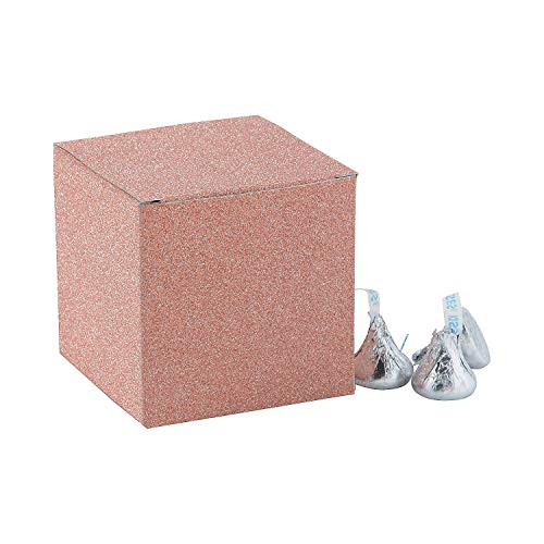 Fun Express - 3in Rose Gold Glitter Mini Favor Boxes for Wedding - Party Supplies - Containers & Boxes - Paper Boxes - Wedding - 24 Pieces ()