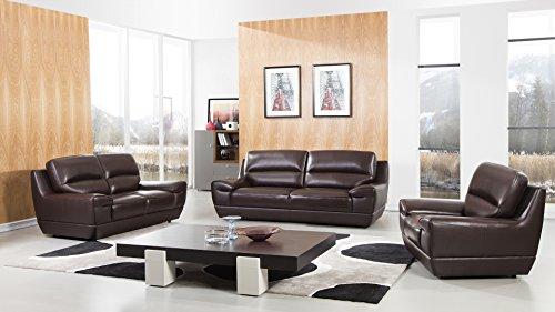 - American Eagle Furniture EK018-DB.V2 Stratton Modern Italian Leather Living Room Sofa Set, 3 Piece, Brown