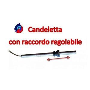 """CANDELETTA ACCENSIONE STUFA A PELLET UNIVERSALE 190MM D.10 330W CON RACCORDO REGOLABILE 3/8"""" COMPATIBILE 90% STUFE 7 spesavip"""