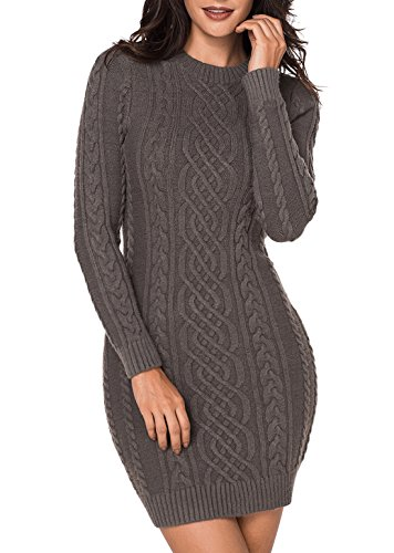 Long Sleeve Sweater Dresses - Crew Neck Cable Knit Slim Fit Pullover | Cute Sweater Dresses Women