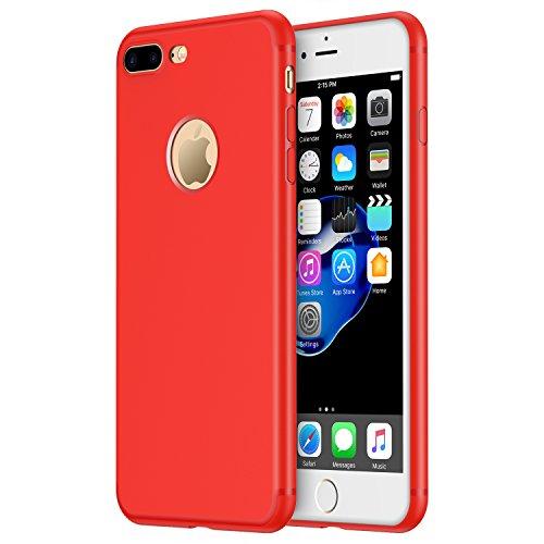 iPhone 7 Plus Hülle, RANVOO aus Soft Silikon Material Anti-Fingerabdruck Extra Dünn Case für iPhone 7 Plus Rot, [TENDER005]