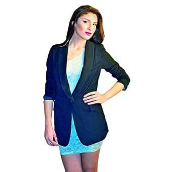 Hipster Black Polyester Basic Coat For Women