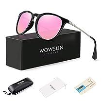 0f76d610a WOWSUN Polarized Sunglasses for Women Vintage Retro Round Mirrored Lens