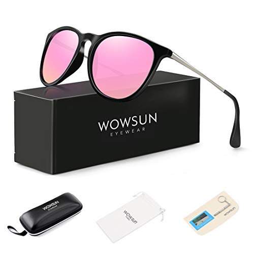 Pink Sunglasses Lens - WOWSUN Polarized Sunglasses Women Vintage Retro Round Mirrored Lens Black Purple Pink
