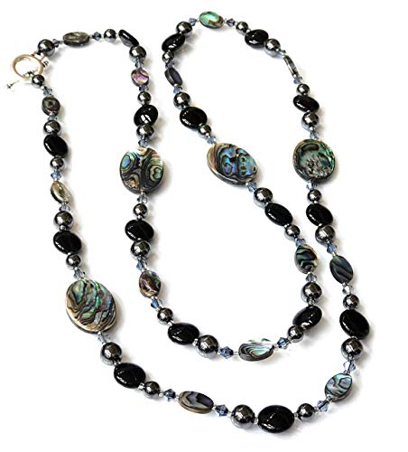 HONULELE Abalone and Hematite Bead Long Necklace