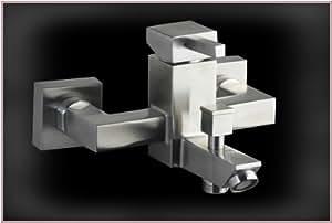 Acero inoxidable montaje en pared grifo mezclador monomando para ducha acero pulido massive cuadrado