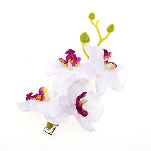 DreamLily Hawaiian Orchid Flower Hair Clips for Wedding Hair Brooch Hawaii Beach Wearing (White)