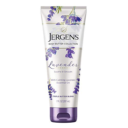 Jergens Lavender Body Butter Moisturizer, 7 Ounce Lotion, with Essential Oil, for Indulgent Moisturization ()