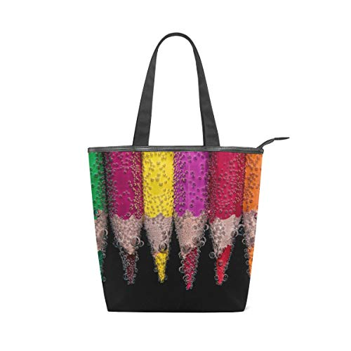 Handbag Colorful Crayon Beaded Canvas Tote Bag Shoulder Bags for School Shopping Travel
