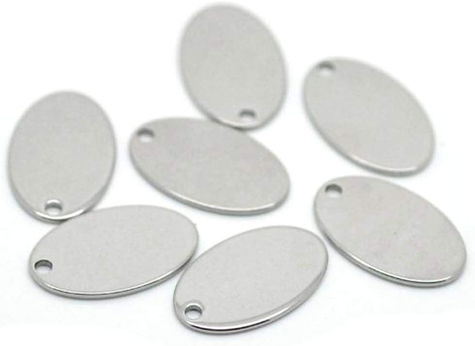 20Stainless Steel Rectangle Blank Coin Engraving Stamping Charms Tag Pendant