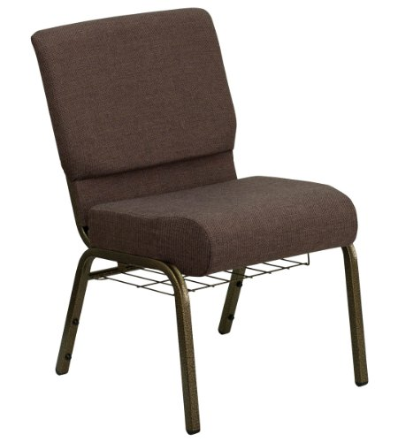 (HERCULES Series 21'' Extra Wide Brown Church Chair with 4'' Thick Seat, Communion Cup Book Rack - Gold Vein Frame)