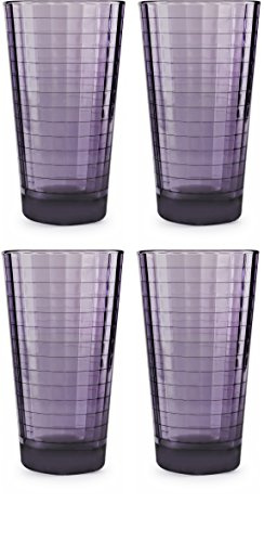 Circleware 44822 Windowpane Heavy Base Juice Drinking Glasses, Set of 4 Kitchen Entertainment Ice Tea Beverage Cups Glassware for Water, Milk, Beer, Whiskey and Bar Decor Gift, 17 oz, Plum by Circleware (Image #2)
