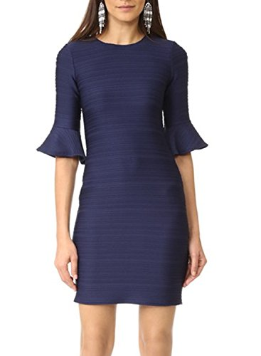 SYLVIEY Womens Cocktail Flared Sleeve Business Bodycon Party Mini Dress Navy Blue (Flared Sleeves Mini Dress)