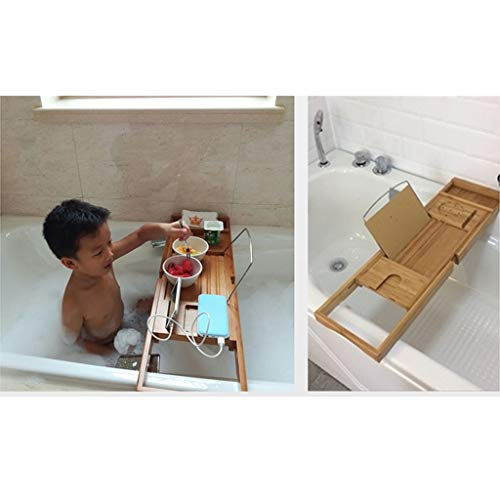 ZhaoLiRuShop Bathtub Trays Bath Caddy Bath Tray Bath Board Retractable Anti-Skid Bath Racks Multi-Function Bath Rack Tub Tub Bracket Towel Wine Cell Phone (Color : Natural, Size : 7523cm) by ZhaoLiRuShop (Image #2)
