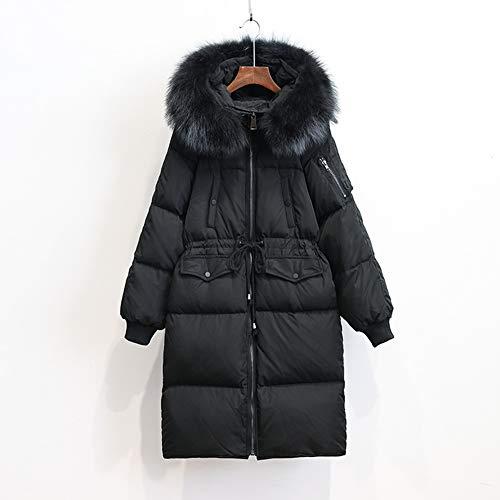 Delgada Grande De Capucha Mujer Holgada Negro Para Invierno Chaqueta Con Larga Piel Y Cuello Xichengshidai qgwxUOtI