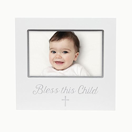 Pearhead Sentiment Bless This Child Keepsake Photo Frame, White (Cross God Bless Baby)