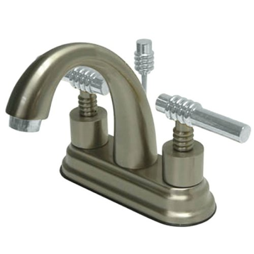 Kingston Brass KS8617ML English Country 4-Inch Deck Mount Centerset Lavatory Faucet with Brass Lever Handle, Brushed Nickel and Polished Chrome