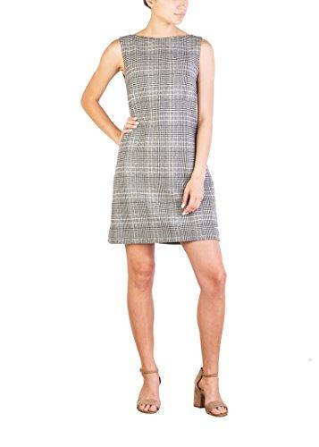 Prada Women's Virgin Wool Cashmere Blend Houndstooth Pattern Dress White