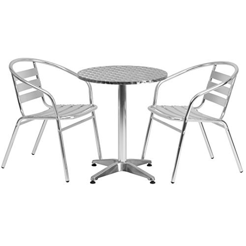 MFO 23.5'' Round Aluminum Indoor-Outdoor Table with 2 Slat Back Chairs