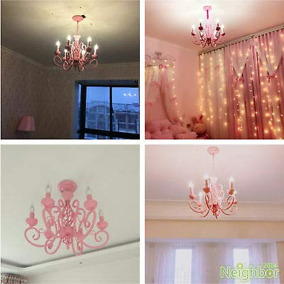FidgetGear Contemporary Pink Chandelier Iron LED Pendant Light Princess Room Ceiling Lamp by FidgetGear (Image #4)