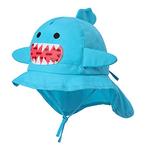 Baby Bucket Hat Animal - Toddler Boy Quickly Dry Sun Protection Beach Hat (M 48/6-12 Months, Shark Neck Flap) -