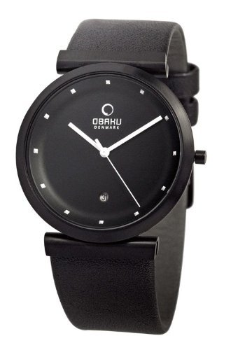 Obaku Unisex V137UBBRB Black Leather Quartz Watch with Black Dial