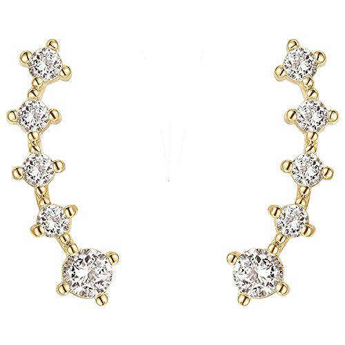 - PAVOI 14K Yellow Gold Plated Sterling Silver Post Climber Arrow Ear Crawler Pearl Earrings Set
