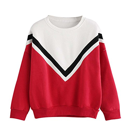 LandFox Patchwork Long Sleeve Sweatshirt,Women Blouse Casual Pullover Tops Blouse Red