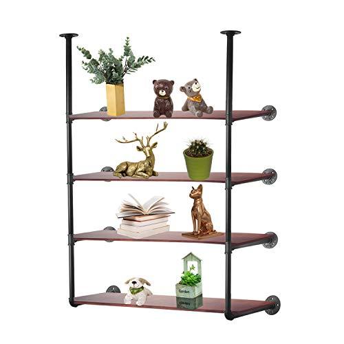 (3S Industrial Pipe Shelving, Rustic Iron Pipe Shelf Wall Mount Bookshelf Shelving Unit,Mounted Bracket,DIY Support,No Planks(2 pcs),Black.)