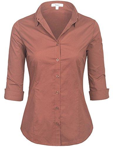 Classic Womens L/s Shirt - KOGMO Womens Classic Solid 3/4 Sleeve Button Down Blouse Dress Shirt (S-3X)-L-RED_Bean