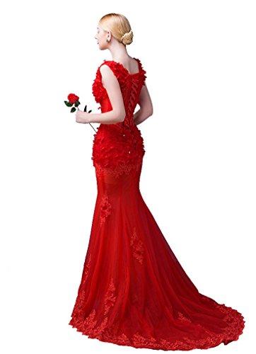 Tailing Ärmelloses Wein Sweep Beauty Rot Ausschnitt Emily V Applikationen Meerjungfrau Kleid Band Abend tSxwqFO0