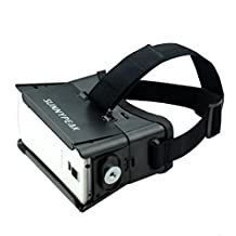 SUNNYPEAK Google Cardboard 3D VR Headset Virtual Reality Glasses with Adjustable Focal Distance Pupil Distance for iPhone Samsung Nexus HTC Moto LG Mobile Smartphone with QR Code (Black,with Magnet)