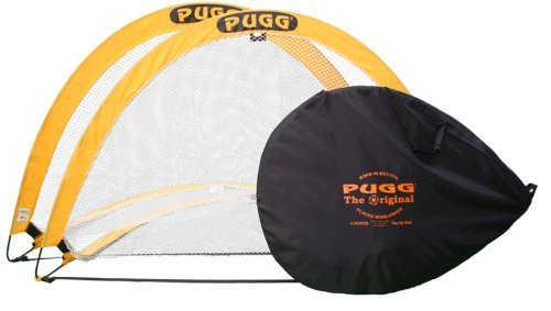 PUGG 6 Foot Pop Up Soccer Goal Set - Portable Training Futsal Football Net - The Original Pickup Game Goal (Two Goals & Bag)